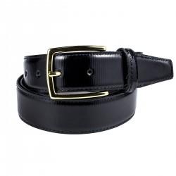 Cintura in vernice rigata nera
