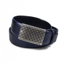 Cintura in vernice stampa onda blu