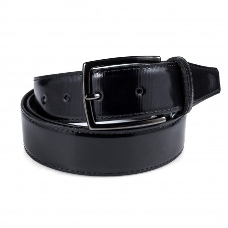 Cintura in vernice nera rigata
